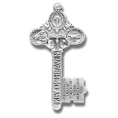 "Sterling Silver Key Four Way Medal Catholic Pendant w 18"" Chain Boxed from MRT"
