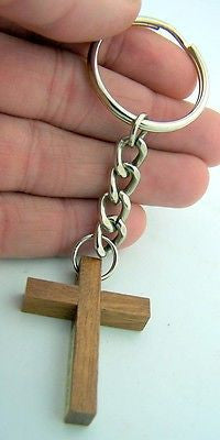 Catholic Key Chain Wood Plain Simple Crucifix Cross Keychain Silver Ring