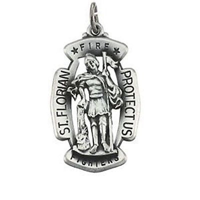 MRT St Florian LARGE Sterling Silver Medal Patron w Chain Firefighters 1 1/4""