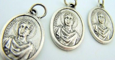 Saint St Genesius Pray For Us Silver Gilded Christian Italian Medal Charm LOT 3