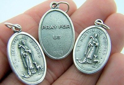 Catholic Medal Charm Pendant Lot 3 Siver Plate St Martin De Porres Pray For Us