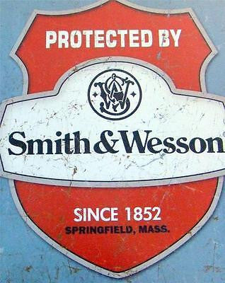 Smith & Wesson Protection Retro Tin Sign Gun Owner Old Style Wall Decor USA 16""