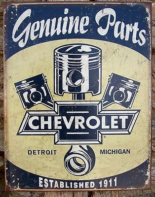 Chevrolet Retro Tin Sign Chevy Parts Detroit Ad Garage Wall Decor ...