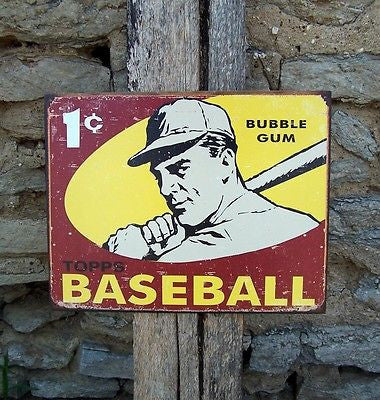 Vintage Antique Style Ad Topps Baseball Card Sign Retro Basement Home Decor Gift