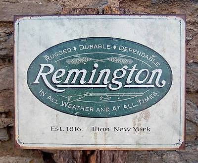 Old Antique Style Remington Logo Tin Gun Sign Retro Guns Ad Wall Decor USA 16""