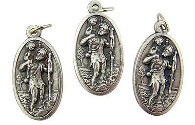 MRT Lot Of 3 St Christopher Medal Silver Tone Metal Pendant Travel Protection 1""