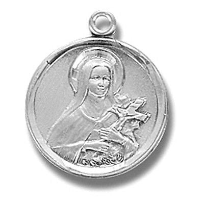 Sterling Silver Small Saint St Therese Patron Medal