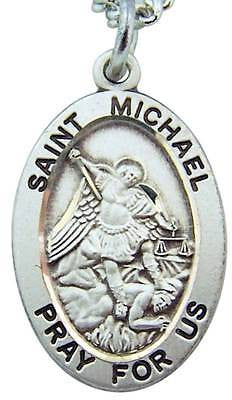 MRT St Michael .925 Sterling Silver BIG Saint Medal w Chain & Gift Box 1 1/16""