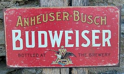 Budweiser Tin Sign Bar Ad Old Vintage Style Bud Wall Decor Home Gift USA 16 x 8