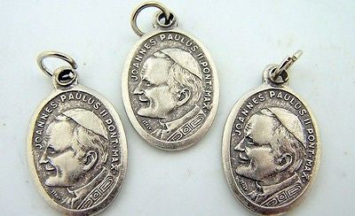 Catholic Medal Charm Pendant Lot 3 Siver Plate Pope John Paul II Pray for Us
