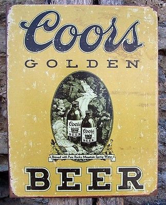 Coors Light Golden Beer Retro Tin Bar Pub Sign Ad Wall Hanging Home Decor USA
