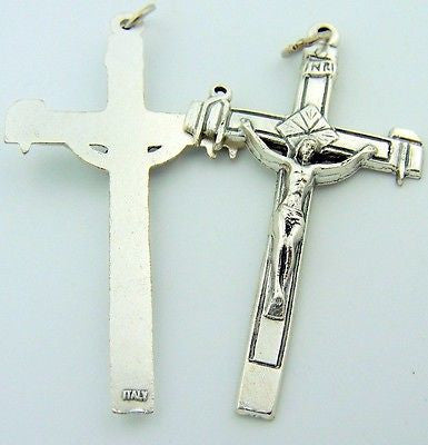 MRT Lot Of 2 Crucifix Necklace Pendant Medal Catholic Religious Jewelry Gift