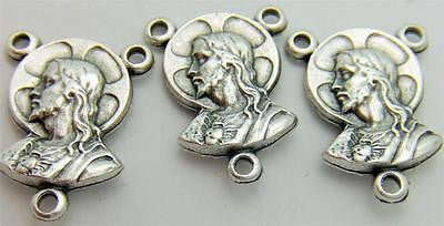 3 Sacred Heart Madonna & Child Rosary Centerpiece Part Silver Plate Italy
