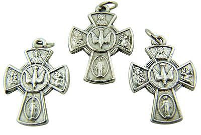 MRT Lot Of 3 Solid Pewter Four Way Medal Cross Catholic Pendant Gift Italian