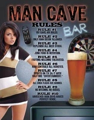 Man Cave Rules Tin Beer Sign w Girl Guys Garage Basement Wall Decor Gift USA