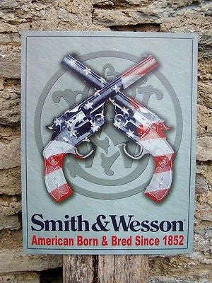Smith & Wesson Co Tin Sign American Flag Guns Retro Wall Ad Gun Owner Gift USA