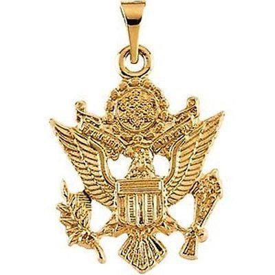 MRT One Nation 14K Yellow Gold US Army Pendant Medal Mens Womens Jewelry 3/4""