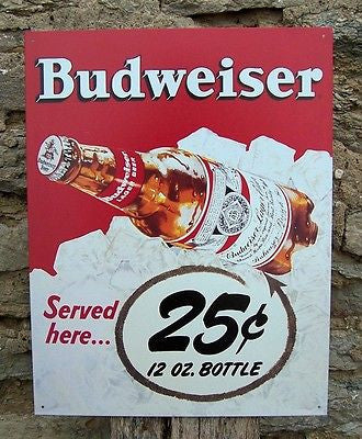 Budweiser Beer Retro Tin Sign Bud Served 25 Cents Vintage Style Bar Man Gift USA