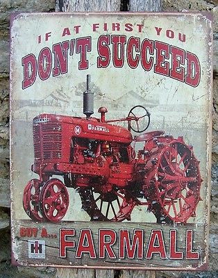 Old Style Tin Sign Retro Ad Farmall Farm Machinery Wall Decor Tractor Gift USA