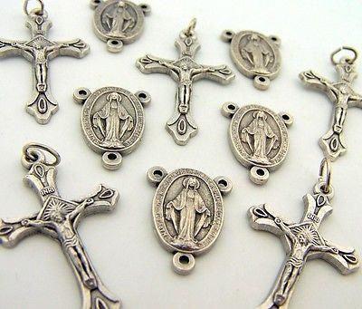 Silver P Crucifix Mary Rosary Center Piece Cross Lot 10