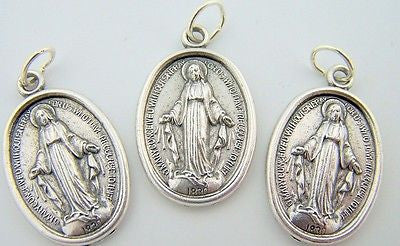 Catholic Medal Charm Pendant Lot3 Siver Plate Miraculous Medal Virgin Mary