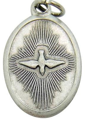 "MRT Holy Spirit Confirmation Catholic Medal Silver Plate Pendant Gift 3/4"" Italy"