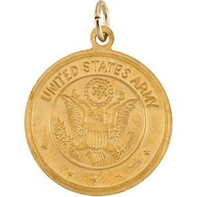 "MRT One Nation St Christopher US Army 14K Yellow Gold Medal Necklace 3/4"" Gift"