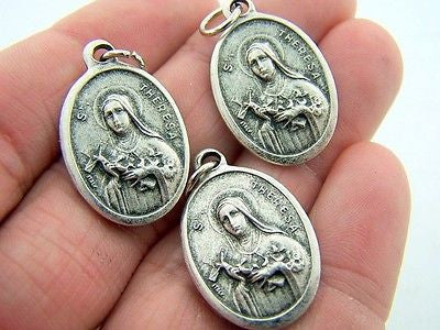 Catholic Medal Charm Pendant Lot 3 Siver Plate Saint Theresa Therese Pray For Us