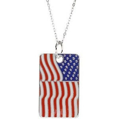 MRT One Nation.. Solid Sterling Silver Patriotic USA Flag Dogtag & Chain 1 1/4""