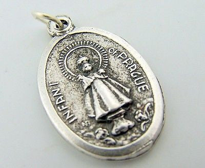 Infant of Prague Religious Pendant Pray For Us Medal Italian Charm I.O.P.
