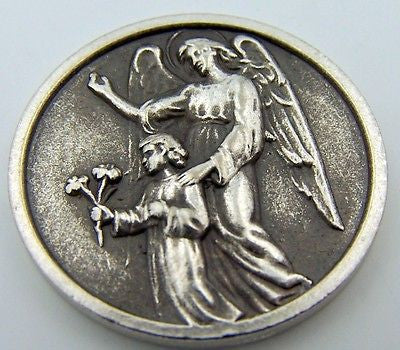 Catholic Medal Charm Prayer Pocket Token Gaurdian Angel Protect Antiqued Silver