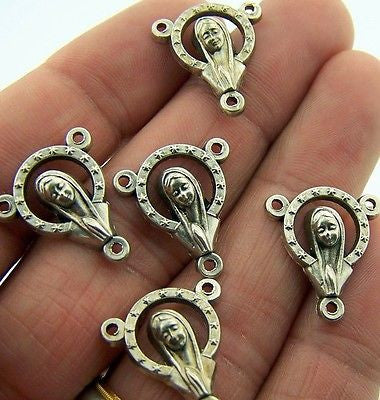 Mary with Stars Rosary Parts Centerpiece Silver Gilded Set of 5 from Italy
