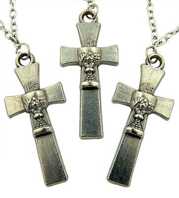 MRT Lot Of 3 First Holy Communion Chalice Cross Pendant Necklace Catholic Gift
