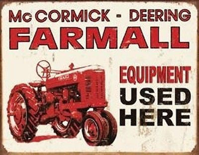 Old Time Tin Sign Retro Wall Ad Farmall Farm Machinery Used Tractor Gift USA 16""