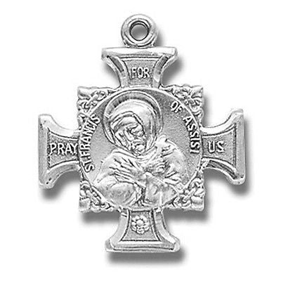 Sterling Silver St Francis/St Anthony Cross Patron Medal w Chain & Boxed from MR