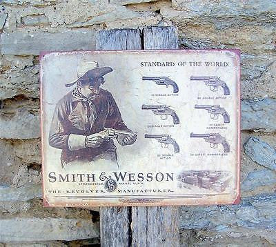 Historic Style Smith & Wesson Guns Ammo Tin Sign Retro Ad Wall Decor USA Gift