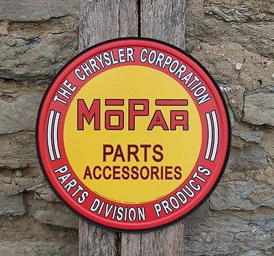 Mopar Chrysler Car Parts Vintage Style Tin Sign Ad Retro Garage Decor USA 12""