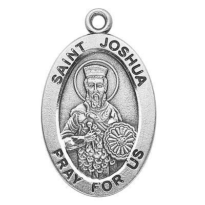 "Sterling Silver 7/8"" Oval St Joshua Medal w 20"" Chain Boxed"