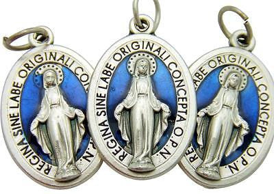 3 Miraculous Mary Medal Silver Plate & Blue Enamel Pendant Gift Italy 3/4""