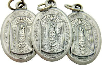"3 Our Lady of Loreto Mary Madonna Catholic Medal Silver Plate 3/4"" Italian"