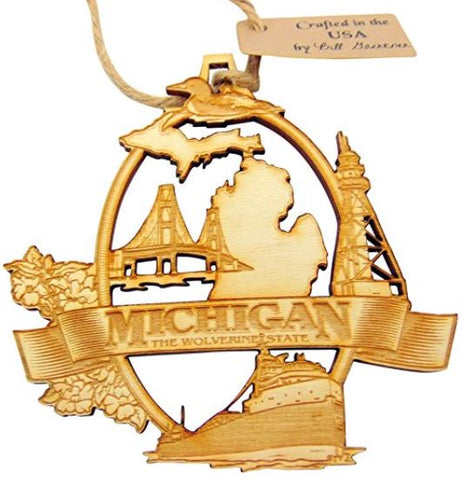 Michigan Wooden Christmas Ornament Boxed Handmade in the USA