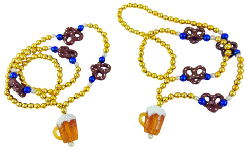 Oktoberfest Beads Necklace with Beer Stein and Pretzels Party Accessory, Pack of 2