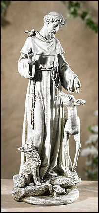 "St Francis with Deer Garden Statue Lawn Patio Saint Outdoor Yard Decor 14"" H"