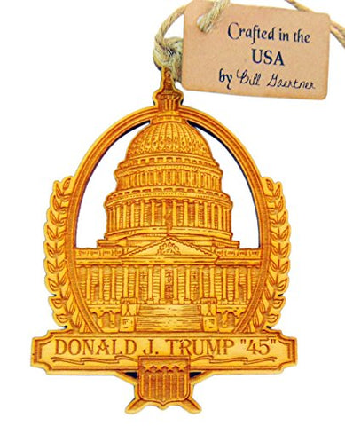 Donald Trump Wooden Christmas Ornament 4 Inch Boxed Made in the USA