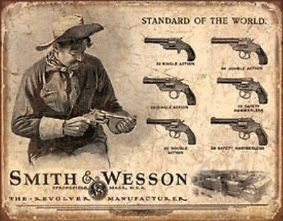 Smith & Wesson Revolvers Guns Nostalgia Sign Retro Ad Wall Decor Mans Gift USA