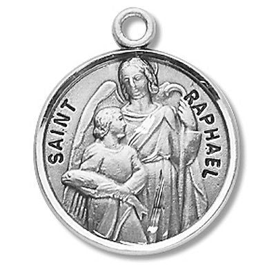 "Sterling Silver 7/8"" Round Saint St Raphael Patron Medal"
