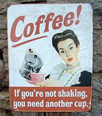 Antique Style Coffee Retro Metal Sign Kitchen Cafe Home Decor Funny Gift USA 16""