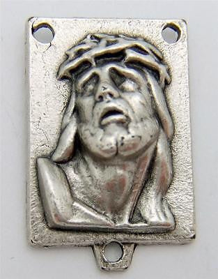 MRT Ecce Homo Face Of Christ Holy Rosary Centerpiece Silver Plate Italian 3/4""