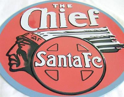LARGE The Chief Santa Fe Train Retro Die Cut 3-D Tin Antique Style Sign Gift 14""