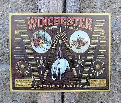 Winchester Retro Tin Sign Bullit Ad Retro Antique Old Style Wall Decor Gift USA